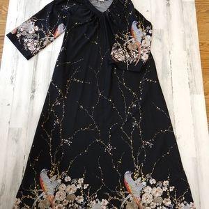 Vintage 70s Asian Bird Floral Print Maxi Dress